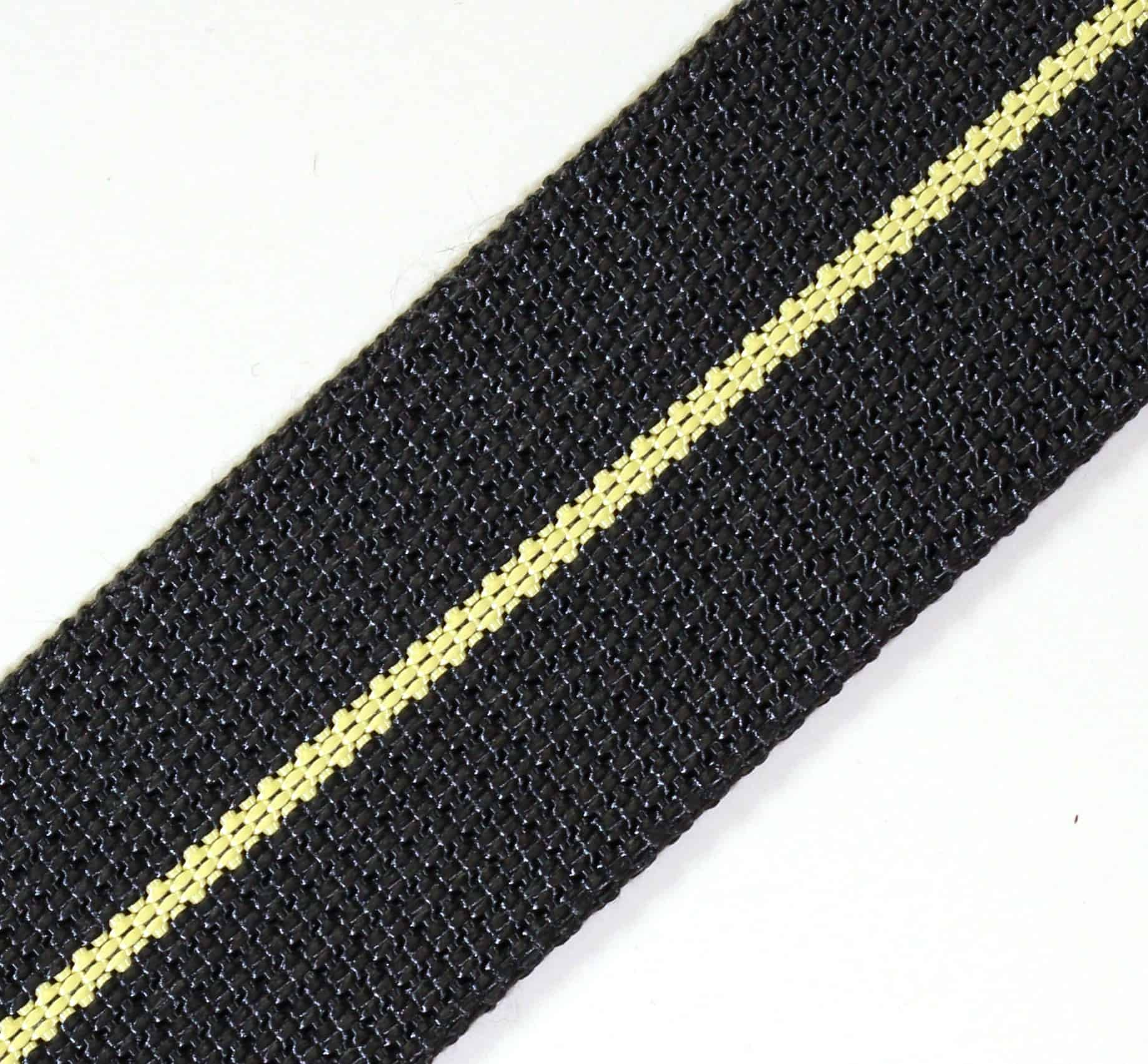 1-11/16″ Black Kevlar® Webbing with Natural Stripe