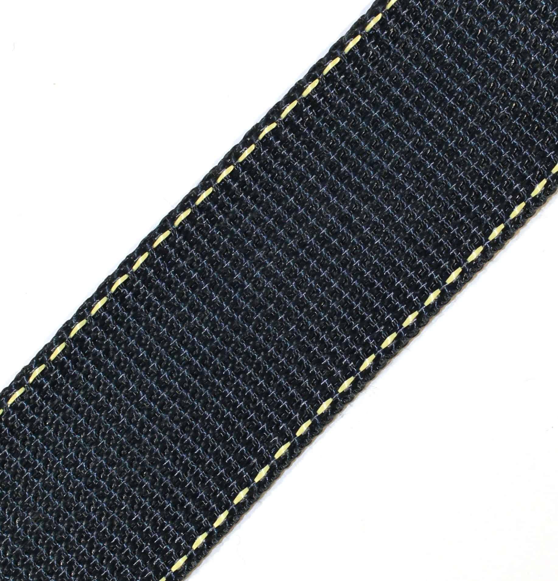 1-3/4″ Black Kevlar® Webbing with Natural Stripes