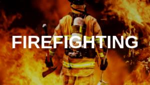 Fire fighter walking towards a fire with Firefighting written on top.